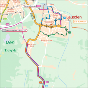 The bus lines near Lesuden, as they go in 2014. The P+R Leusden Zuid stop is errornously shown, as buses don't halt here in 2014. (C) 2013 Connexxion and Carto Studio